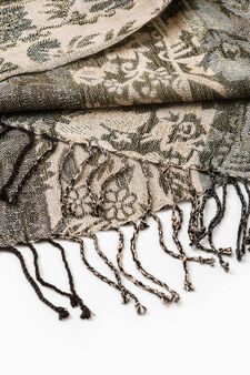 Viscose and lurex patterned scarf, Multicolour, hi-res