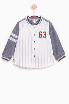Sweatshirt with striped pattern and patches, White/Blue, hi-res