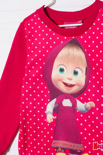 Masha and the Bear stretch cotton T-shirt, Cherry Red, hi-res