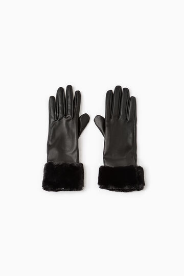 Solid colour hammered-effect gloves., Black, hi-res