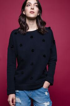 100% cotton sweatshirt with pompom, Black, hi-res