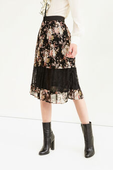 Pleated floral longuette skirt, Black, hi-res
