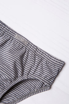 Striped pattern briefs in stretch cotton., Dark Grey, hi-res