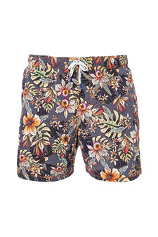 Printed swim boxer shorts by Maui and Sons, Navy Blue, hi-res