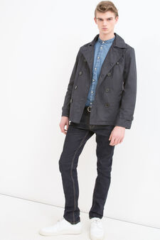 100% cotton double-breasted trench coat, Blue, hi-res
