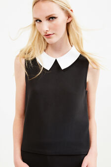 Sleeveless blouse with bluff collar, Black, hi-res