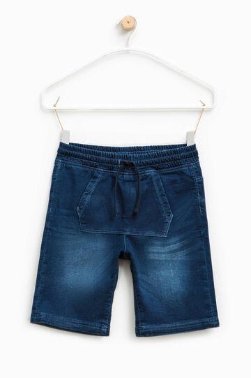 Denim Bermuda shorts with pouch pocket, Dark Blue, hi-res