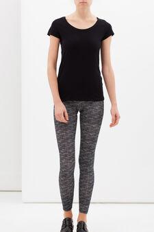 Patterned leggings in stretch cotton., Black/Grey, hi-res