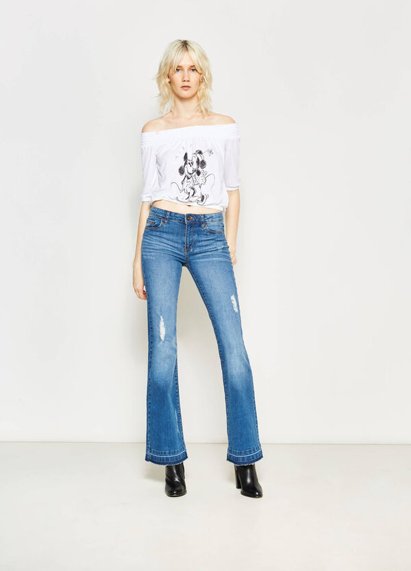 Crop T-shirt with Mickey and Minnie Mouse | OVS