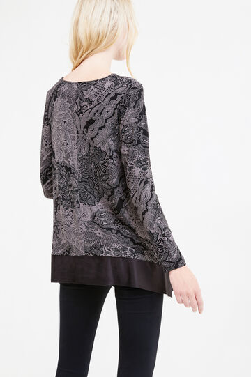 Patterned T-shirt in stretch viscose, Multicolour, hi-res