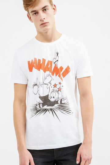 Solid colour cotton T-shirt with print, Off-white, hi-res