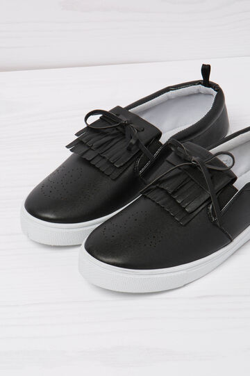 Slip-ons with fringe, Black, hi-res