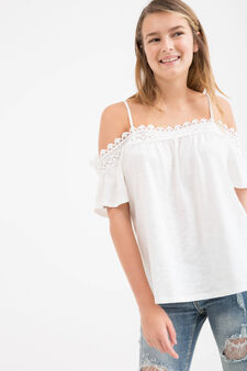 Teen cotton blend blouse with lace, White, hi-res
