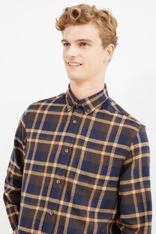 Casual check shirt in 100% cotton, Blue/Brown, hi-res