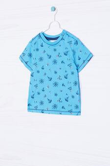 T-shirt puro cotone con stampa, Azzurro turchese, hi-res