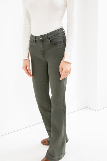 Flare-fit stretch cotton trousers, Forest Green, hi-res
