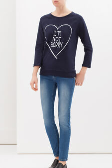 Cotton blend sweatshirt with print, Navy Blue, hi-res