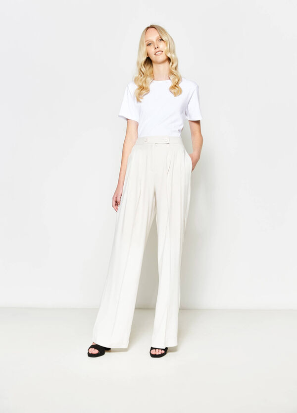 Palazzo trousers with crease | OVS