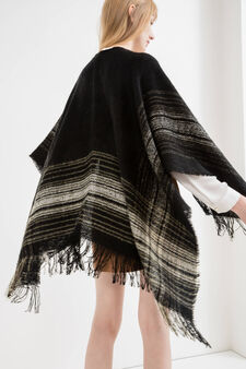 Patterned cape with fringe, Black, hi-res
