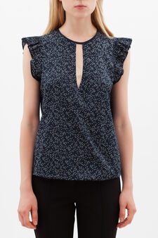 Blouse with all-over print, White/Blue, hi-res