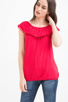 Stretch viscose top with bobbles, Red, hi-res
