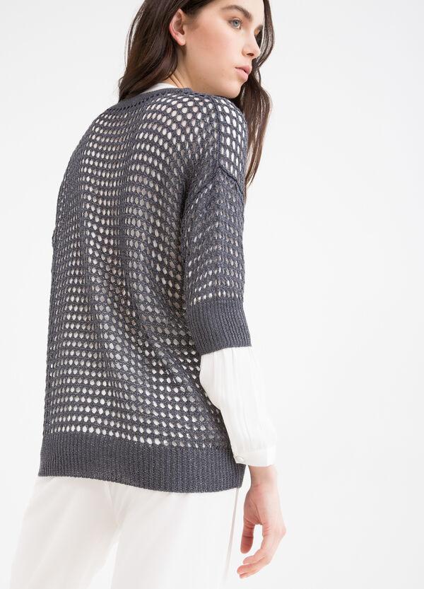 Pullover traforato tricot tinta unita | OVS