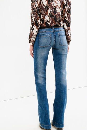 Flare fit, worn-effect faded jeans, Blue, hi-res
