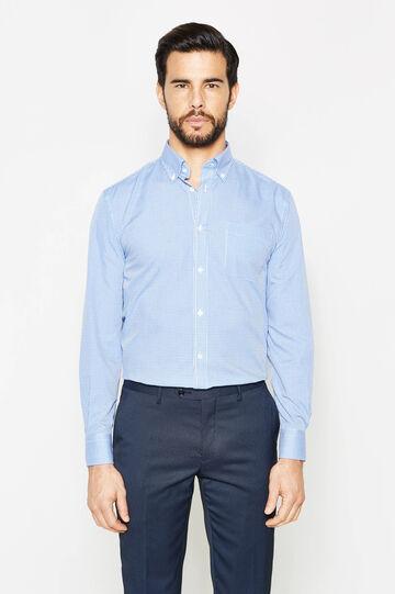 Regular-fit micro-check formal shirt, White/Blue, hi-res