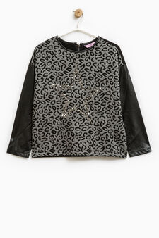 Stretch animal print sweatshirt, Black/Grey, hi-res