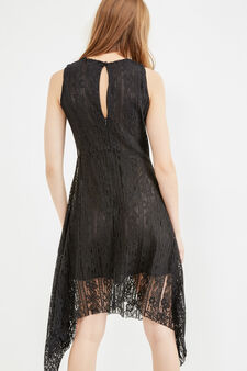 Sleeveless lined lace dress, Black, hi-res
