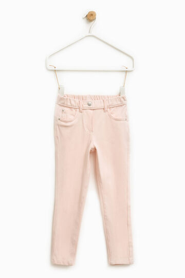 Pantaloni in cotone stretch, Rosa, hi-res