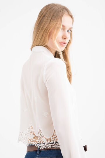 Shirt with lace insert, White, hi-res