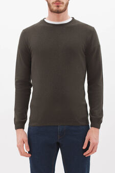 Crew neck pullover in silk and cashmere., Mud Brown, hi-res