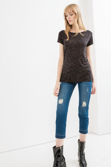 Viscose T-shirt with turned-up sleeves, Black, hi-res
