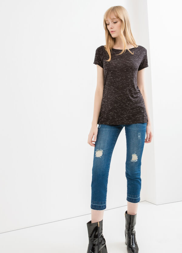 Viscose T-shirt with turned-up sleeves | OVS