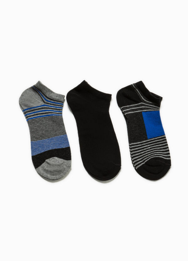Three-pair pack short socks in striped cotton | OVS