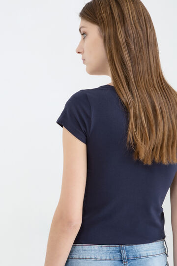 Solid colour stretch T-shirt, Blue, hi-res
