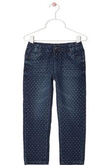 Skinny fit polka dot jeans, Denim Blue, hi-res