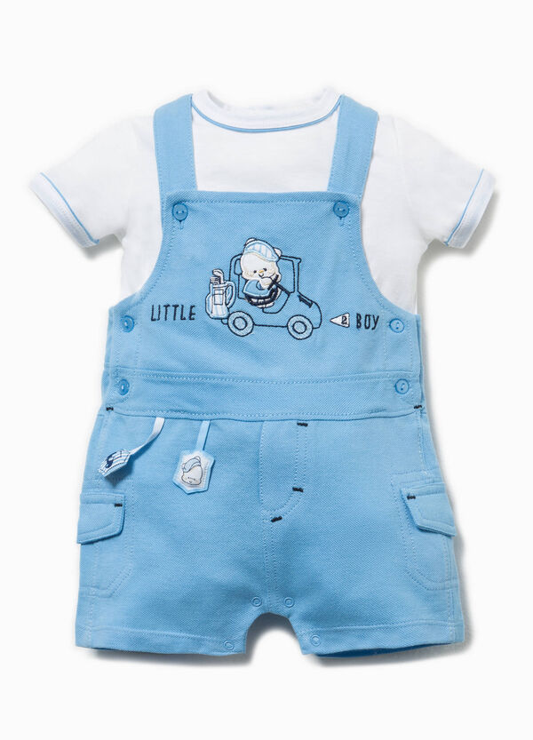 Embroidered T-shirt and dungarees set | OVS