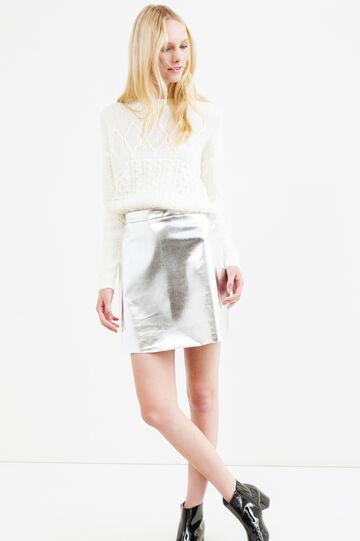 High waist shiny skirt, Grey/Silver, hi-res