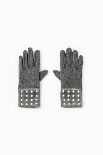 Gloves with faux fur and studs, Grey, hi-res