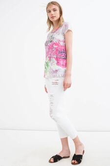 Floral print stretch T-shirt, Fuchsia, hi-res