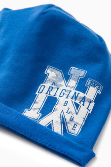 Printed beanie cap, Royal Blue, hi-res
