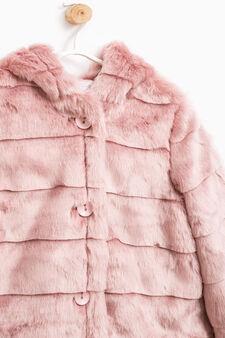 Solid colour fur jacket, Purple, hi-res