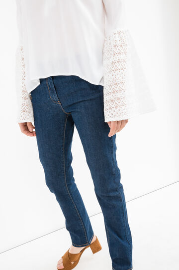 Stretch jeans with contrasting stitching, Blue, hi-res