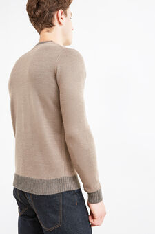 Solid colour knitted pullover, Camel, hi-res