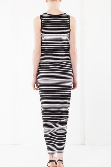Long striped dress, Black/White, hi-res