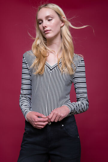 Long-sleeved striped T-shirt, White/Black, hi-res