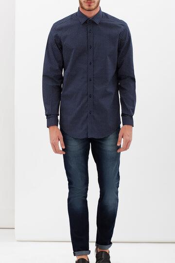 Camicia custom fit in popeline, Blu scuro, hi-res