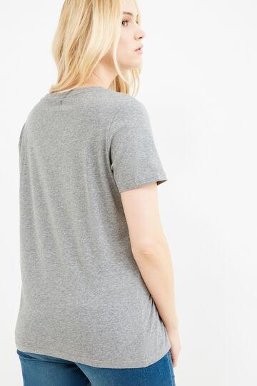 T-shirt cotone stretch con stampa Curvy, Grigio melange, hi-res